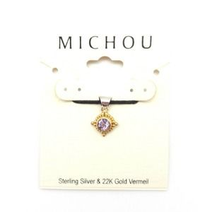 MICHOU FEBRUARY Amethyst Silver & Gold Sq Pendant